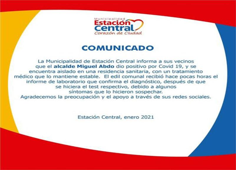 comunicado - Alcalde de Estación Central dió positivo al test PCR